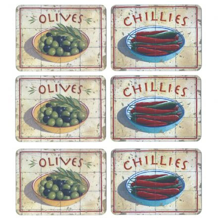 Martin Wiscombe Olives & Chillies Set 6 Tablemats
